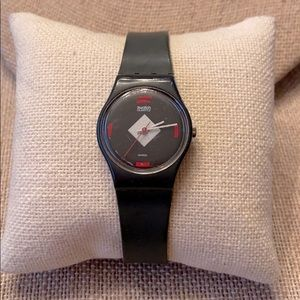 Vintage Gray & Red Swatch Watch